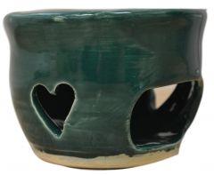 Bougeoir vert foncé en forme de coeur